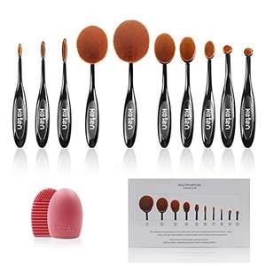 Oval 10 Pieces Makeup Brushes Set £12.99 prime / £16.98 non prime  Sold by KeTen Direct and Fulfilled by Amazon