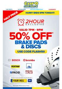 Eurocarparts 50% Off Brake pads & discs - Ends 9pm Tonight ️ Flash Sale ️