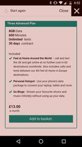 Three - £13 Advanced Plan (8GB, 600 Minutes, Unlimited Texts, 30 Day Contract)