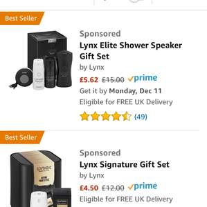 Lynx Gift Sets 50%+ off @ Amazon - from £5.62 (plus £4.75 P&P for non-Prime)