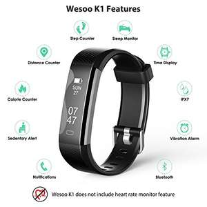 Fitness Tracker, Wesoo K1 Fitness Watch : Activity Tracker Smart Band with Sleep Monitor, Smart Bracelet Pedometer Wristband with Replacement Band for iOS & Android £20.79 Sold by WesooDirect EU and Fulfilled by Amazon.