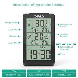 ORIA Digital Thermometer Hygrometer, Indoor Temperature and Humidity Monitor with Large LCD Backlight, Min/Max Records, Trend of Temperature Change- £10.39 (Prime) £14.38 (Non Prime) Sold by ORIA UK and Fulfilled by Amazon - lightning deal