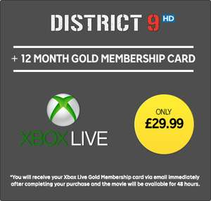 12 Months Xbox Live Gold Membership (Plus District 9 rental) - £29.99 - Rakuten.tv