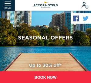 Up to 30% off on Accor Hotels