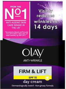 Olay Anti-Wrinkle Firm & Lift SPF15 Moisturising Day Cream (50ml) was £10.00 now £4.00 / Olay Anti-Wrinkle Firm & Lift Anti-Ageing Moisturiser Day Cream SPF15 50ml + Mirror Giftset was £10.00 now £6.00 @ Asda