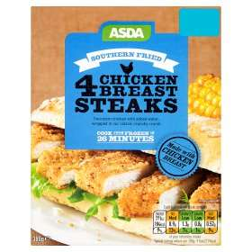 ASDA 4 Southern Fried Chicken Breast (73%) Steaks (4 = 380g) was £1.75 now £1.49 (so just 37.5p a steak) (Rollback Deal) @ Asda
