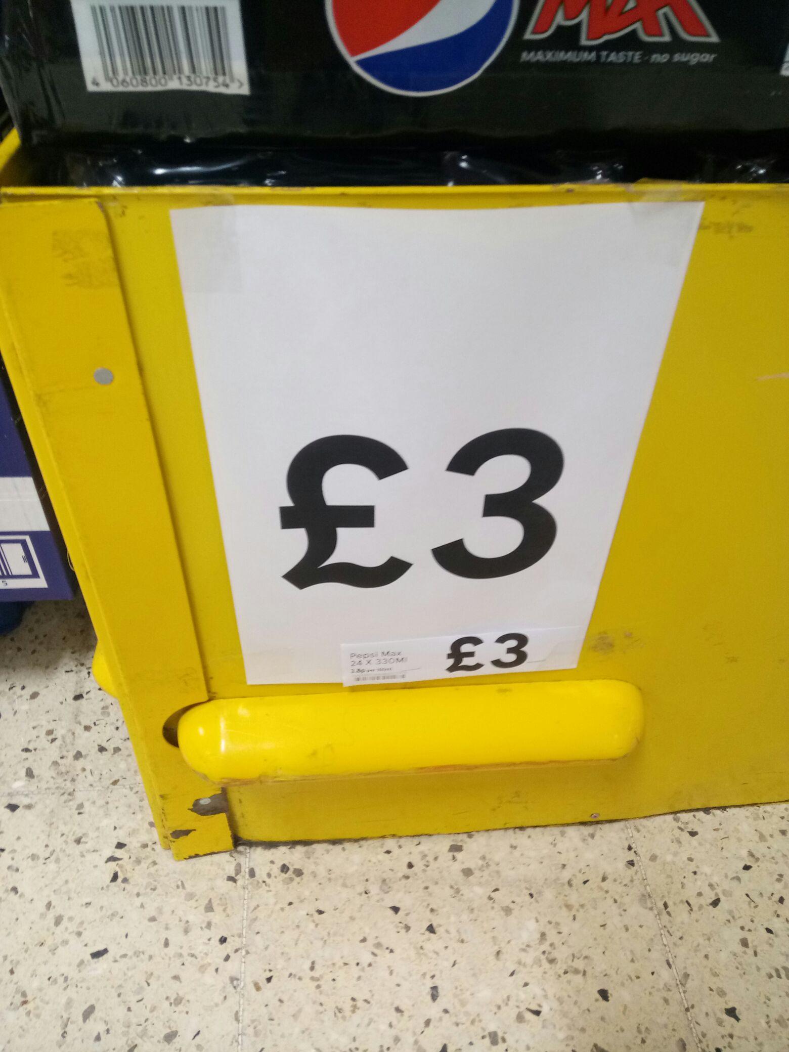 Pepsi Max, case 24, £3 at Tesco