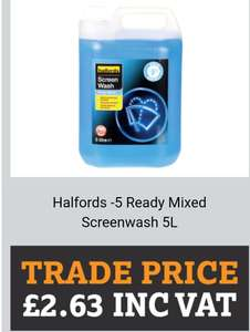 Halfords -5 Ready Mixed Screenwash 5L £2.63 - Halfords Trade