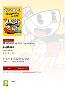 Cuphead the cheapest it's been on Xbox one £14.22 @ Microsoft. Also  on PC - Xbox Play Anywhere.