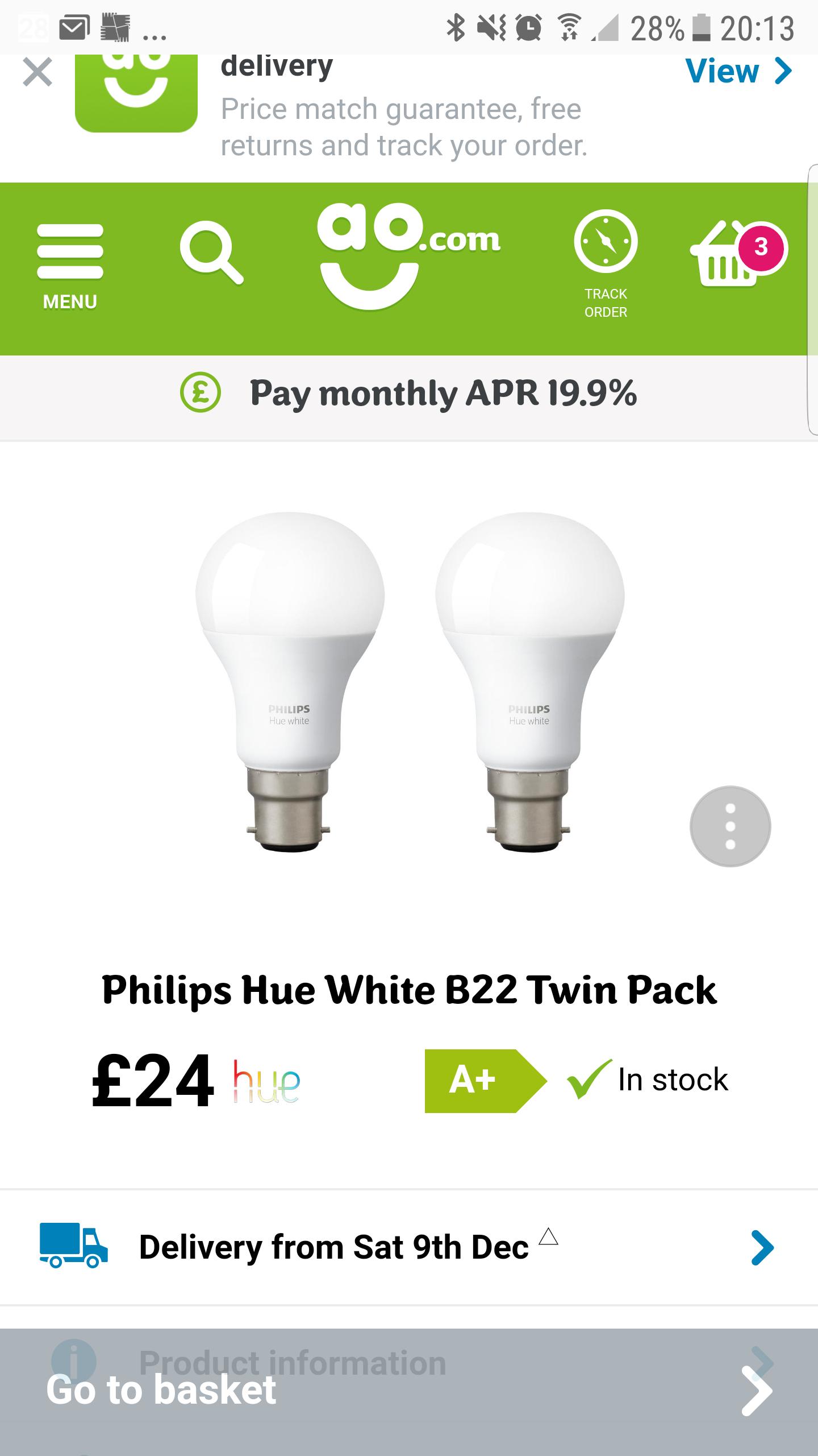 Philips hue white b22 x6 for £48 @ AO