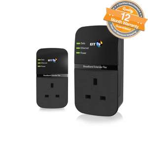 Refurbished BT Broadband Extender Flex 500 Kit Powerline Adapters 2 Ethernet Cables £19.99 @  The Phone Outlet Ebay