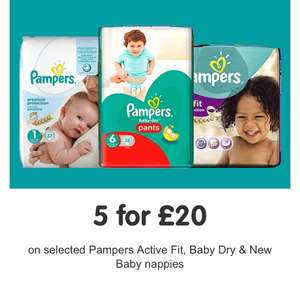 5 for £20 available on selected Pampers Active Fit, Baby Dry & New Baby Nappies!