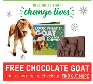 Free chocolate goat with any order from Oxfam unwrapped