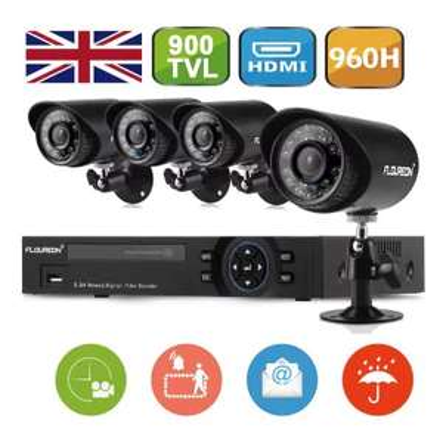 FLOUREON 1 X 8CH 960H Onvif Hybrid DVR + 4 X 900TVL Camera Security Kit £34.43 @ Gearbest