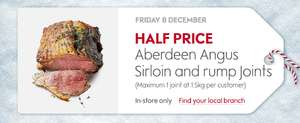 Waitrose one day deal - half price Aberdeen Angus beef joints - instore Friday 8th Dec only