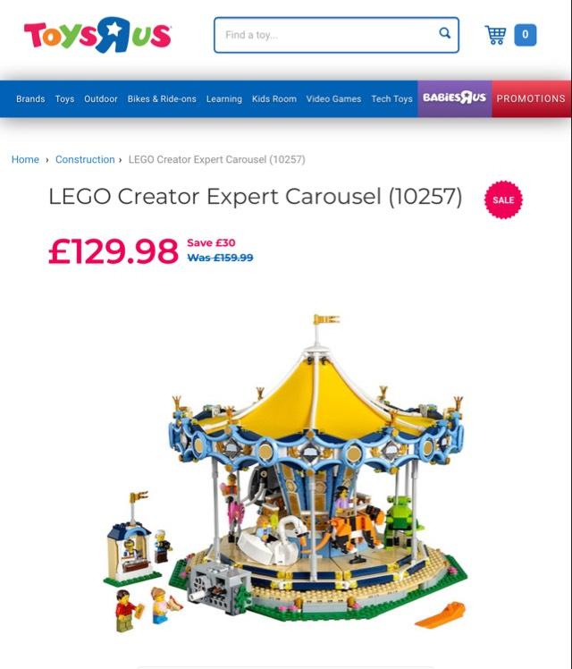 Lego creator Expert Carousel (10257) + £20 Lego Voucher @ Toys R Us