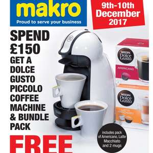Free dolce gusto piccolo coffee machine and bundle pack on £150 spend @ makro this weekend