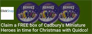 Claim a FREE tub of 660g Cadbury's Miniature Heroes from Tesco, ASDA or Morrisons in time for Christmas If you're brand new to Quidco!