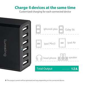 Lumsing 6-Port Desktop USB Charger 60W Mains Charging Station Plug + FREE Lumsing Quick Charge 3.0 USB Mains Charger 18W for Android,lowest price £7.99 ( for Prime) or add delivery