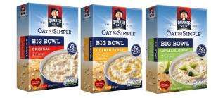 Quaker Oat So Simple Big Bowl Original (10x38g) - Golden Syrup Big Bowl (8x49.6) - Apple & Blueberry Big Bowl Porridge (8 x 47.9) All £1 Each reduced from £2.44 @ Asda
