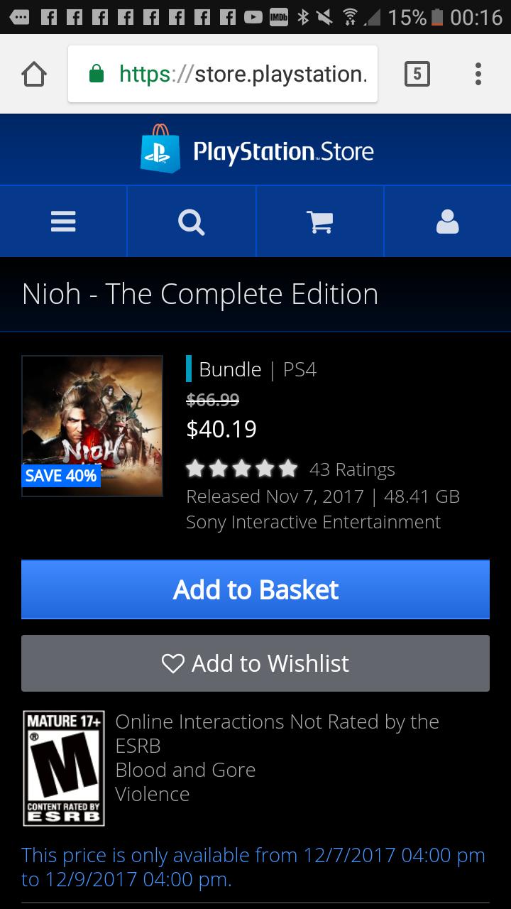 Nioh complete edition PSN canada $40.19