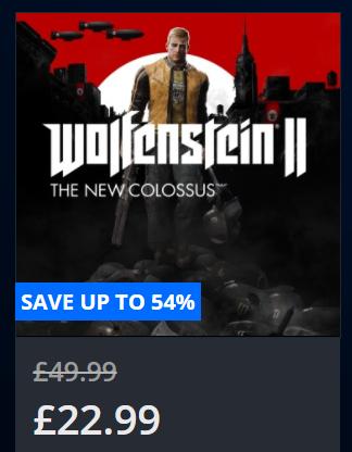 Wolfenstein II: The New Colossus, £22.99 @PSN