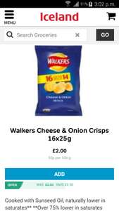 16 packets of Walkers cheese and onion crisps for £2 @Iceland in store and online