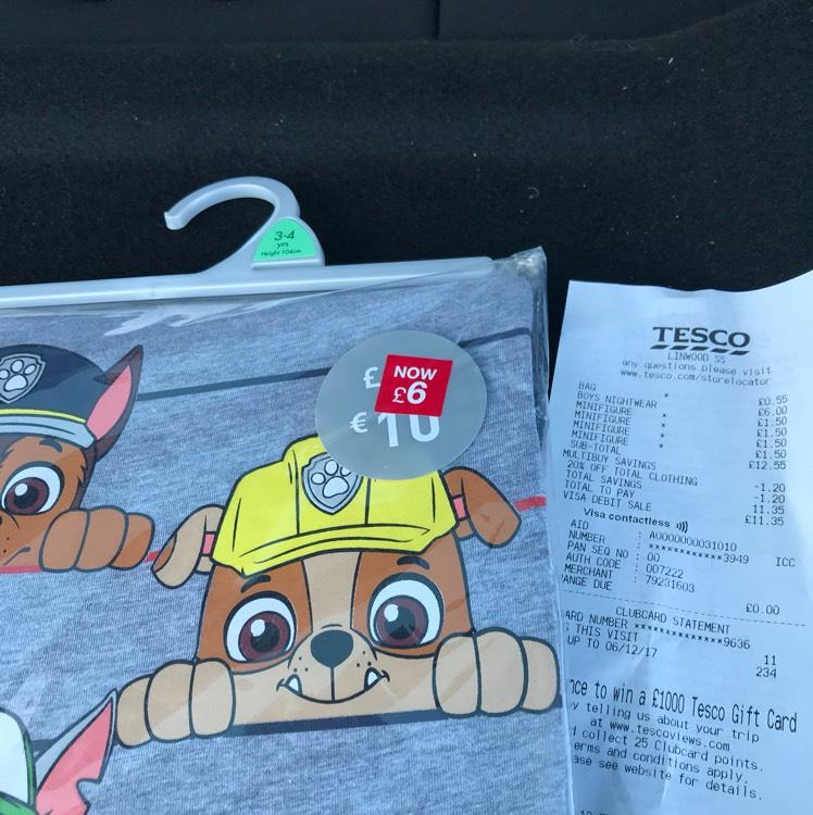 Paw Patrol Pyjamas Reduced to £4.80 @ Tesco INSTORE