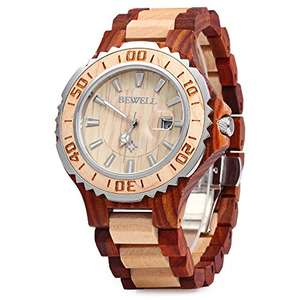 Mens Wooden Watch Analog Quartz Movement with Date Display  19.99 @ Amazon (lightning deal)