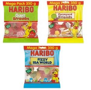 Haribo Mega Packs 350g -Giant Strawbs - Fizzy Sea World and Farmyard Friends £1 each  @ Morrisons