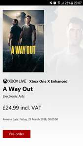 A Way Out available to pre order on PS4, Xbox One and PC £24.99 @ EA