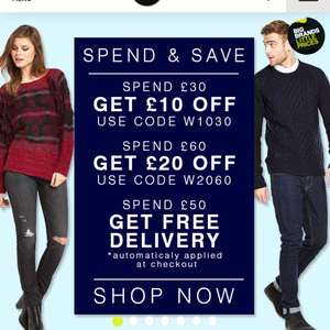 £10 off £30 spend/ £20 off £60 spend @bargaincrazy