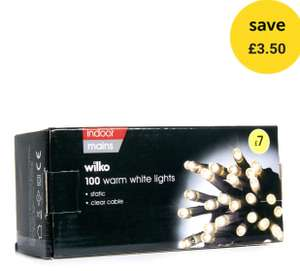 Wilko Christmas 100 Static LED Lights Warm White Clear Cable £3.50 + lots of others discounted