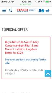 Nintendo Switch with 2 Games £329 @ Tesco Online