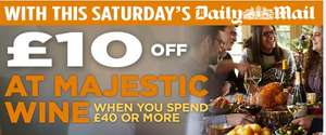 £10 off a £40 spend on Wine, Beer or Spirits In Store at Majestic Wine - Voucher in Saturday's Daily Mail (£1) and The Mail on Sunday (£1.80) - Valid 'till Dec 11th