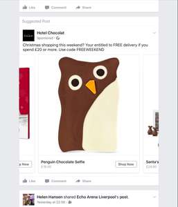 Hotel Chocolat free delivery with £20 spend all weekend