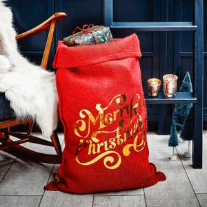 Red foil Santa sack £6.50 delivered at Handmade Christmas Company