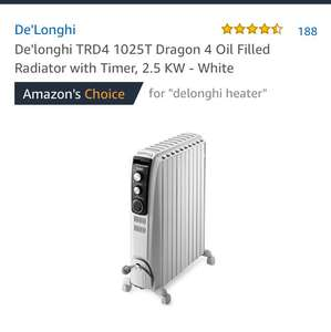 De'longhi TRD4 1025T Dragon 4 Oil Filled Radiator with Timer, 2.5 KW - White @ Amazon for £90