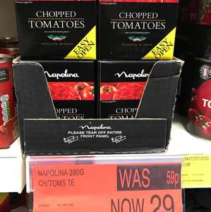 Napolina chopped tomatoes, 390g, 29p each, in-store at B&M.