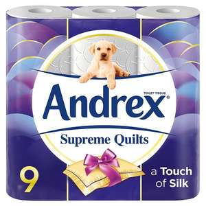 Andrex Toilet Tissue Supreme Quilts / Andrex Toilet Tissue Enriched with Aloe Vera and Chamomile White / Andrex Toilet Tissue Enriched with Shea Butter £5.00 for one 9 Pack or 2 packs for £7.50 or 3 for £10.00 @ Tesco