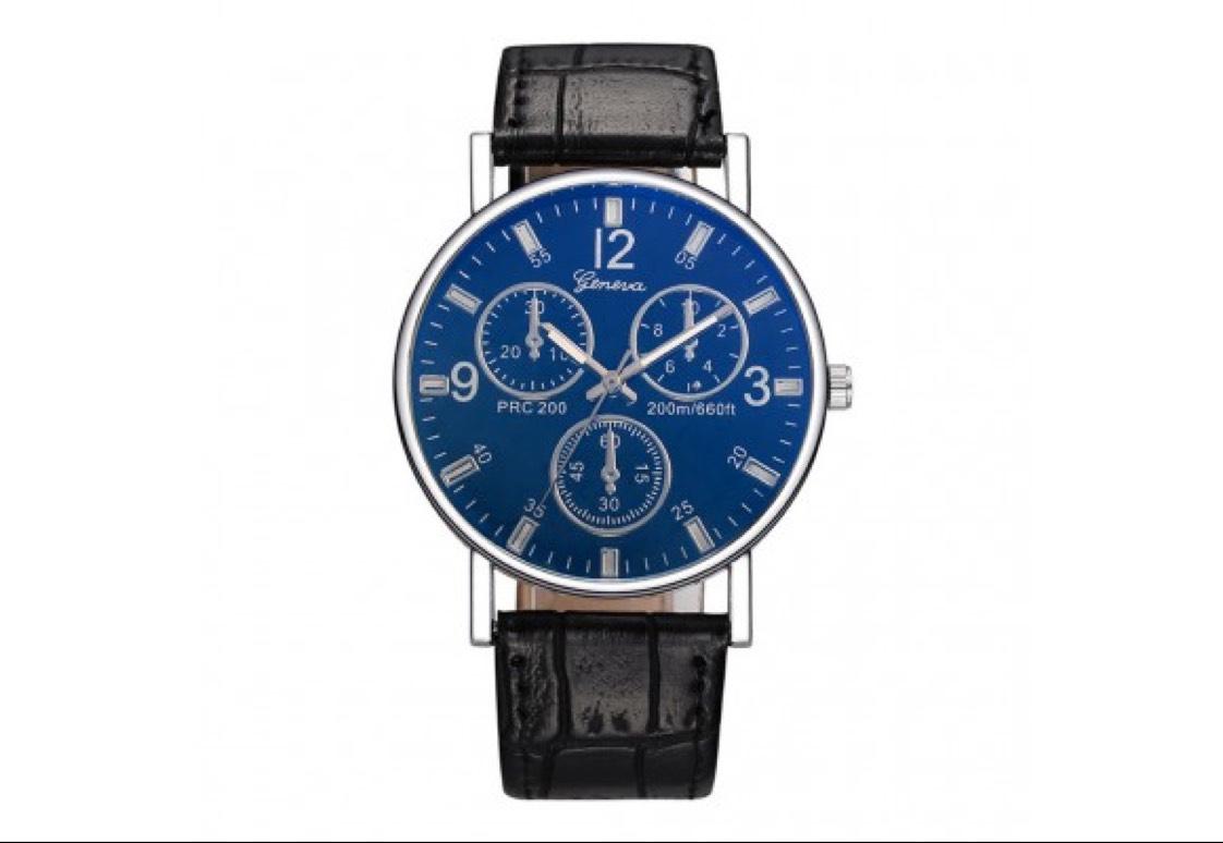 Geneva Men's Quartz Watch Leather Band, free with 58p postage only @ Zaplas