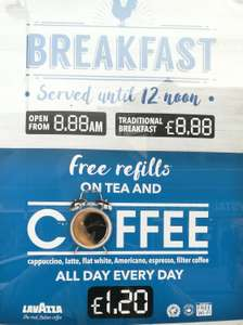 Wetherspoons: Free tea and coffee refills now valid ALL day (£1.20)
