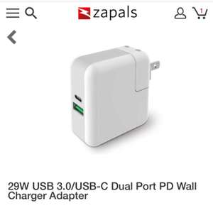 29W USB 3.0/USB-C Dual Port PD Wall Charger Adapter - £9.98 @ Zapals