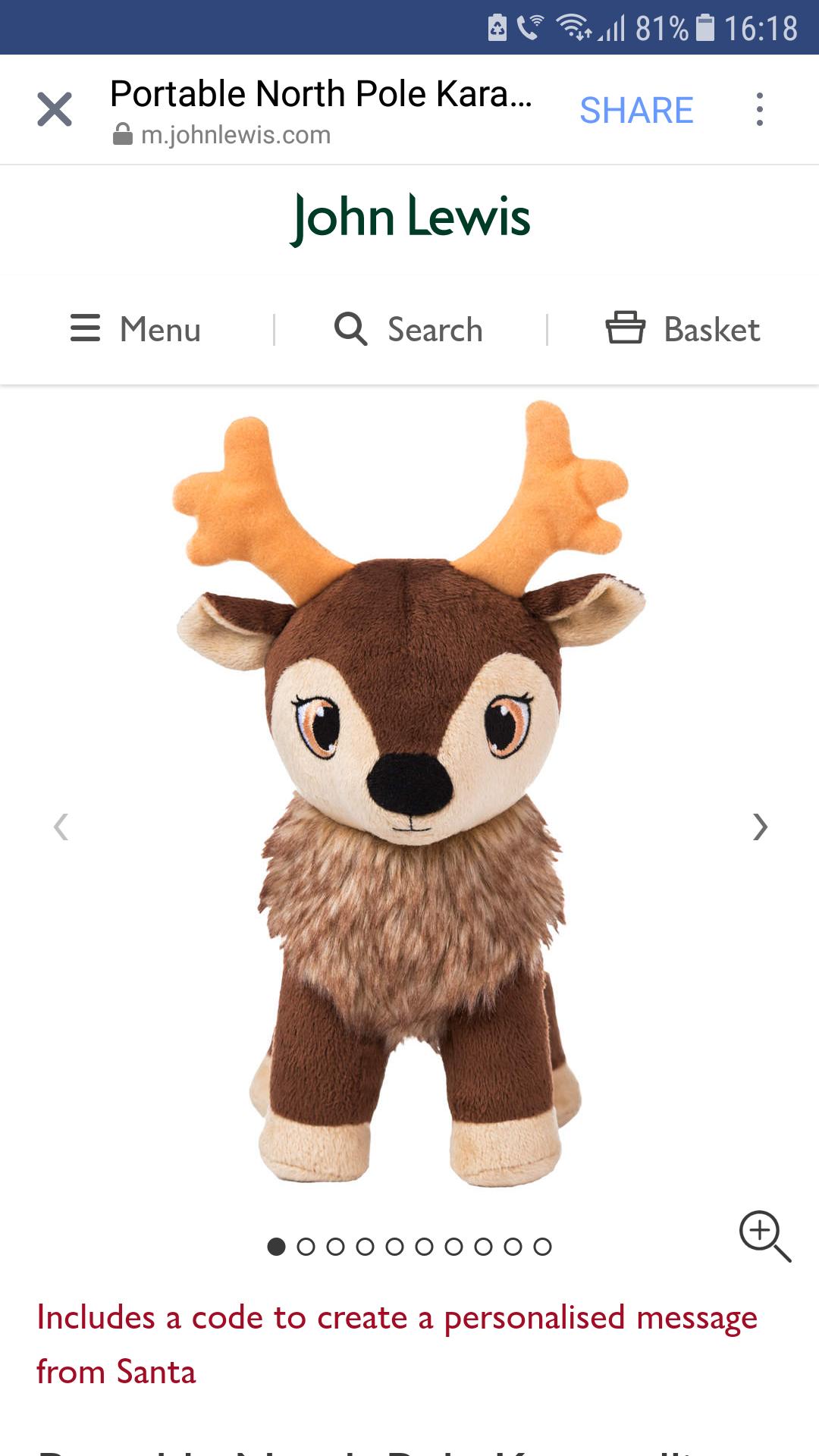 Portable North Pole Karamelli Santa's Sweetest Baby Reindeer Plush Toy & free PNP personalised video message £10 @ John Lewis - £2 c&c