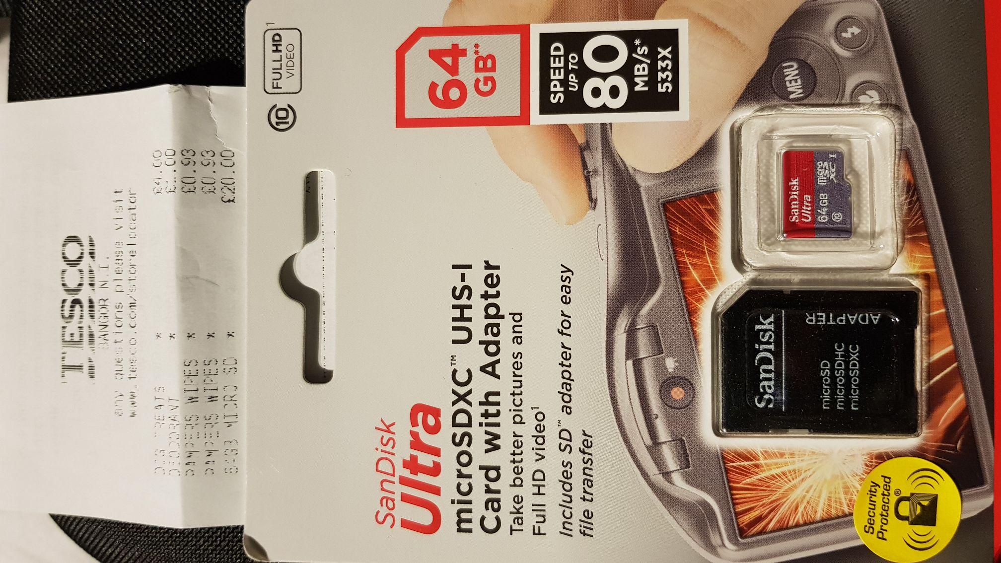 Sandisk 64gb MicroSD Memory Card & Adapter £20.00 @ Tesco -  Bangor NI