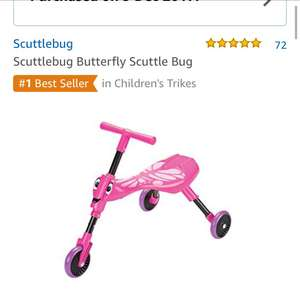 Scuttlebug butterfly pink only £15.99 on Amazon prime with free delivery (£20.74 non-Prime)