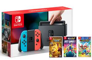 Nintendo Switch Neon + Mario & Rabbids, Just Dance 18 + Rayman Legends £329.86 @ ShopTo