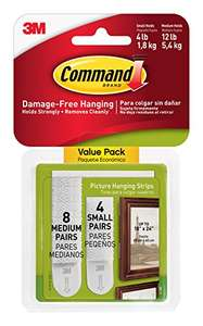 Command Small and Medium Picture Hanging Strips Value Pack, 4 pairs small, 8 pairs medium £3.49 Prime / £7.48 Non Prime @ Amazon (DOTD)