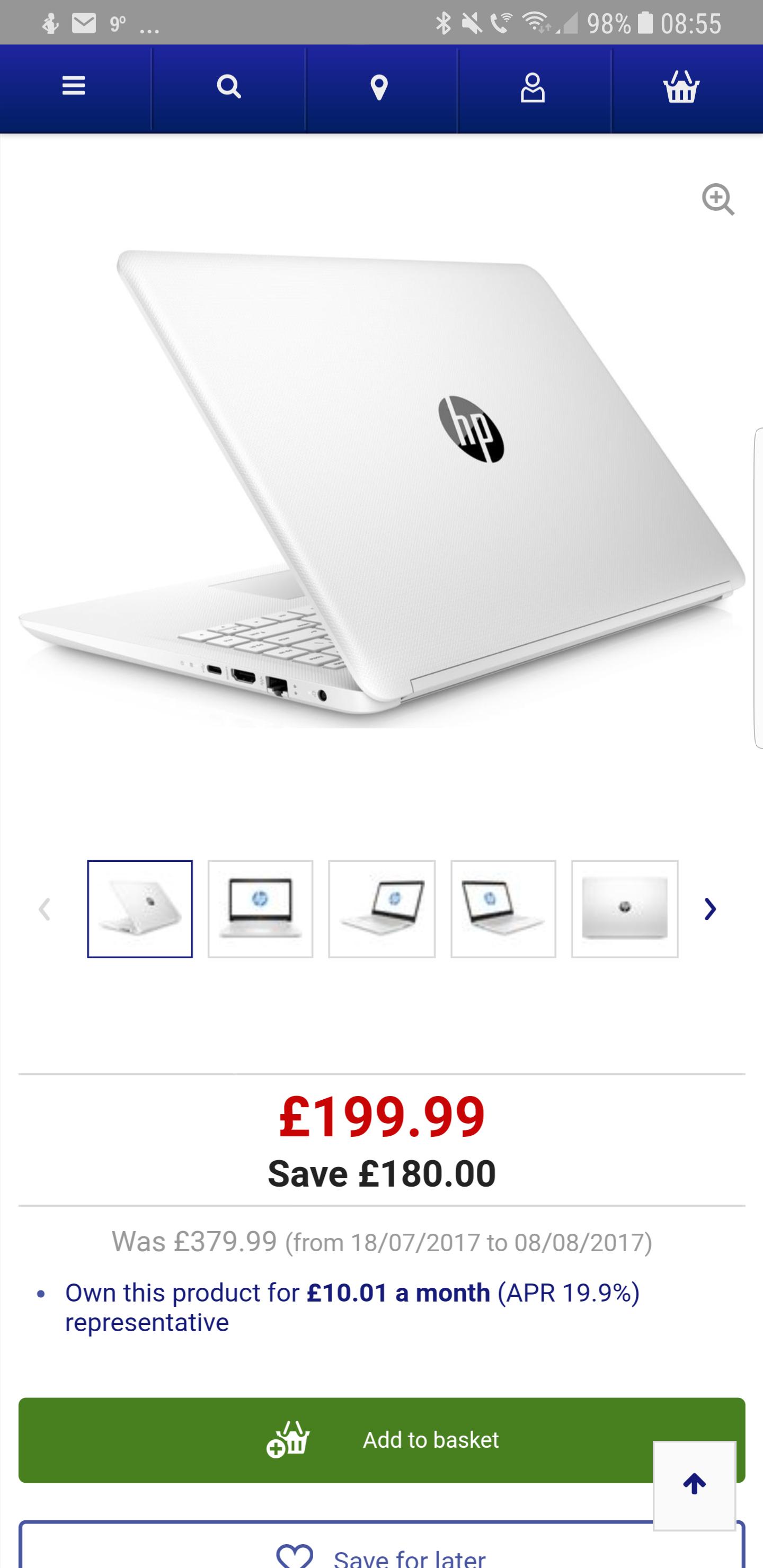 """HP14-bp056sa 14"""" Laptop - Snow White £199.99 @ Currys"""
