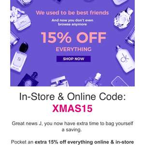 The fragrance shop 15% discount using code XMAS15